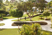 Beautiful backyard landscape, abstract travel background — Stock Photo