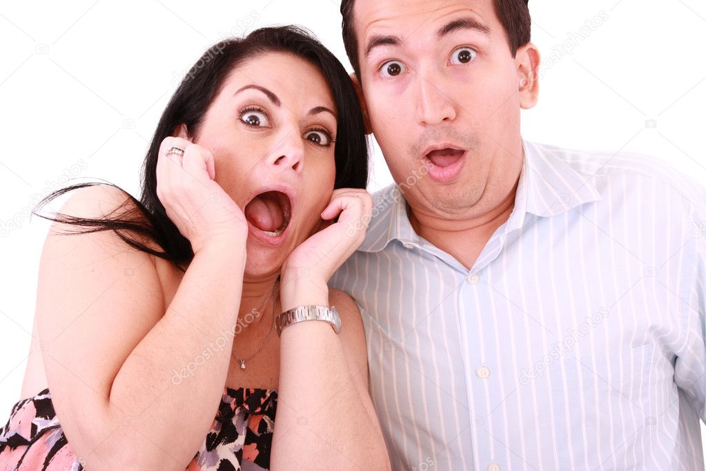 Young adult couple in cinema movie theater scared while watching horror film.  — Stock Photo #6732117
