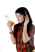Asian young woman enjoy with her sof drink — Stock Photo