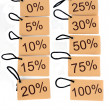 Different tags with the percentage level — Foto Stock