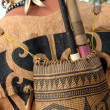 Backpacks tribal Borneo Indonesia - Stock Photo