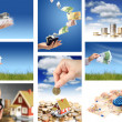 Invest in real estate. Business collage. — Foto Stock
