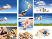 Invest in real estate. Business collage. — Stockfoto