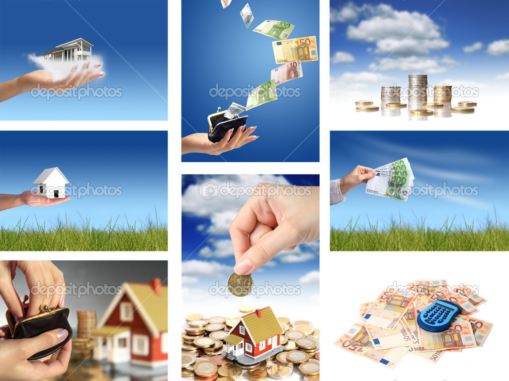 Collage. Invest in real estate concept. — Stock Photo #6573507