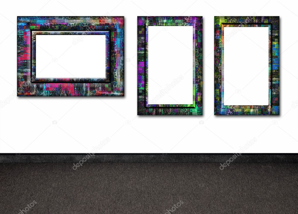 Colorful frames on the white wall — Stock Photo #5447507