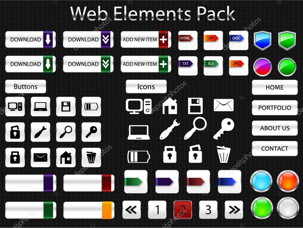 Set of web elements pack — Stock Vector #5716101
