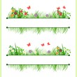 Frame with flowers and grass — Stock Vector