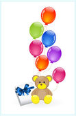 Teddy bear with colorful balloons — Stock Vector