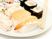 A selection of japanese sushi close up — Stock Photo