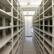 Stock Photo: Mobile shelves in a modern storehouse
