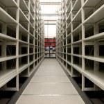 Mobile shelves in a modern storehouse — Stock Photo