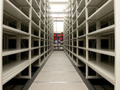 Mobile shelves in a modern storehouse — Stock Photo
