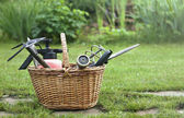 Gardening tools (hoe, splash pad, garden pruner ect) in a basket — Stock Photo