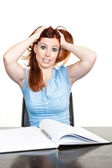 Portrait of a stressed young female — Stock Photo