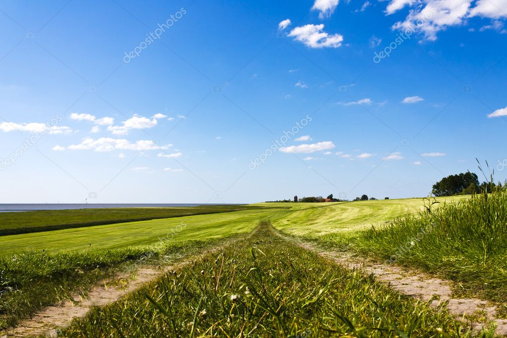 Pathway on top of dike leading to the horizon — Stock Photo #5716971