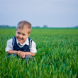 A beautiful little boy sitting in the grass — Stock Photo #5528171