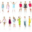 Collection photos of cute little girl in colored clothes — Foto Stock