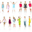 Collection photos of cute little girl in colored clothes — Stock Photo