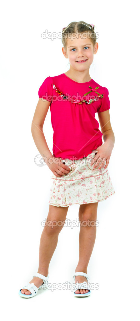 Photo of cute little girl on white background — Stock Photo #5579400
