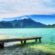 Pier on the lake in the Salzkammergut. Austria — Stock Photo