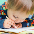 Little Boy Drawing - Stock Photo