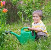 Young Boy In The Garden — Stock Photo