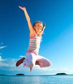 Jump Girl And Sea — Stock Photo