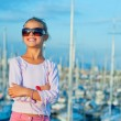 Portrait of a girl in the background of yachts — Stock Photo #5825966