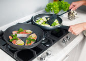 Cooking vegetables dish — Stock Photo