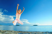 Jump Girl And Sea — Stock Photo