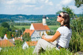 Young pretty woman on vacation — Stock Photo