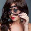 Attractive brunette with lacy mask on eyes — Stock Photo #6003259