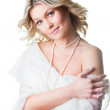 Woman wrapped up in woolen shawl on isolated white — Stock Photo
