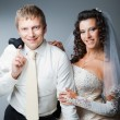 Happy just married bride and groom — Stock Photo