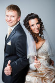 Gesticulating bride and groom — Stock Photo