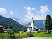 Village church in the Pragser Dolomites — Stock Photo
