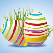 Easter Eggs on Fresh Green Grass — Vektorgrafik