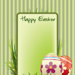 Easter postcard with ornate eggs end grass — Stock Vector