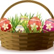 Royalty-Free Stock Vector Image: Easter basket with painted eggs in fresh grass