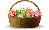Easter basket with painted eggs in fresh grass — Stock Vector