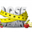 Vecteur: Lose weight text with measure tape and fruits