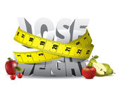 Lose weight text with measure tape and fruits — Cтоковый вектор