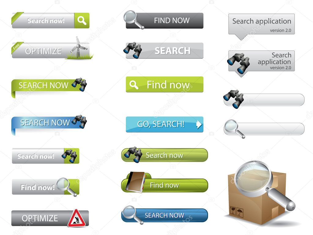 depositphotos 5690874 Search buttons for website search Grey Modern Website Design Elements: Buttons, Form, Slider, Scroll, Icons, ...