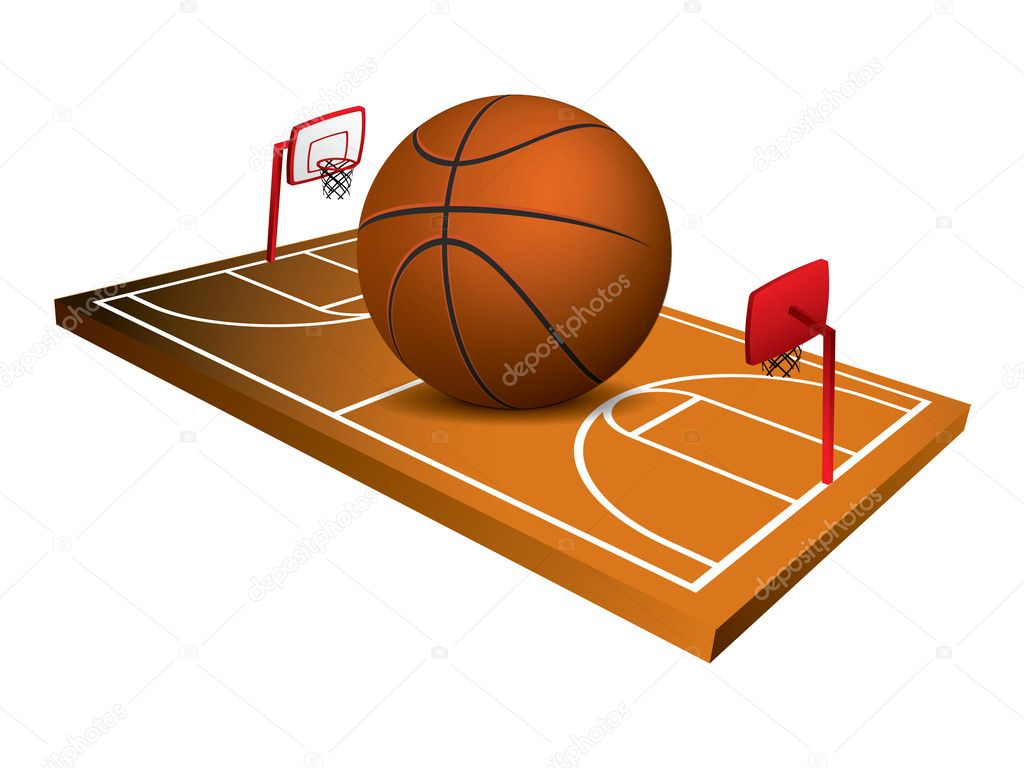3d Basketball field vector  Stock Vector #5738018