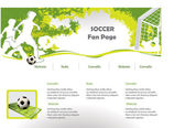 Soccer web site design template — Stock Vector