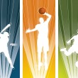 Sport player silhouette banners — Stock Vector