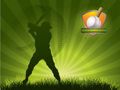 Baseball player strikes the ball with a stick — Stock Vector