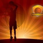 Basketball player with a ball — Stock Vector