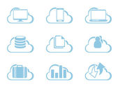 Vector iconos para cloud computing — Vector de stock