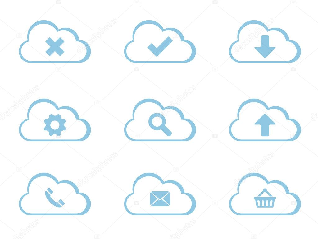 Vector Icons for Cloud Computing — Stock Vector #6006519